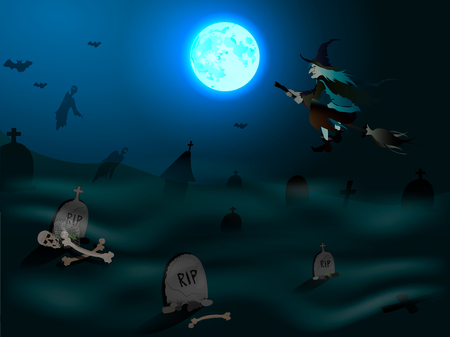 Halloween background with flying witch over graveyard on the full moon. Vector illustration Banque d'images - 127500911