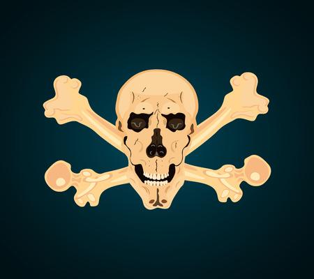 human skull and bones isolated. Creepy elements, scary, halloween decor. Hand drawn silhouette, vector illustration Illustration