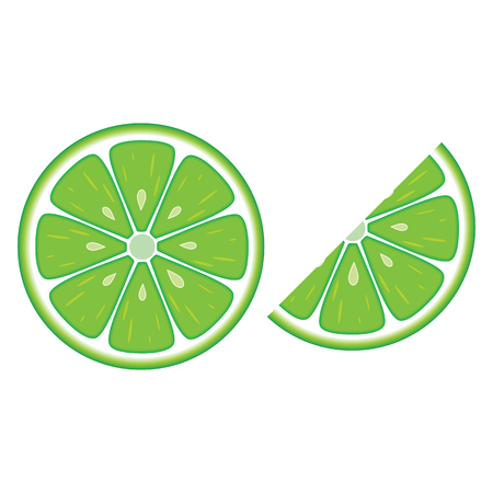 Slices of green lime fruit isolated on white background. Vector flat illustration.