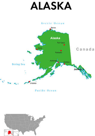 This is a map of Alaska in the United States. It depicts the state capital, major cities and lakes.