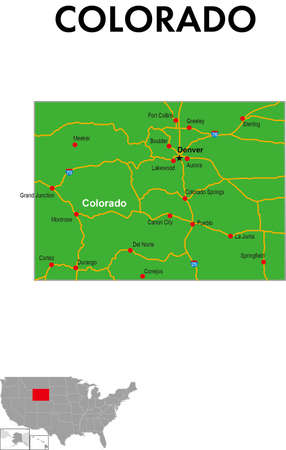 This is a map of Colorado, Usa. It depicts the state capital, major cities, highways, highways, lakes, and more.