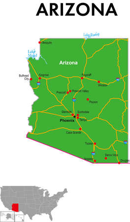 This is a map of Arizona in the United States. It depicts the state capital, major cities, highways, highways, lakes, and more.