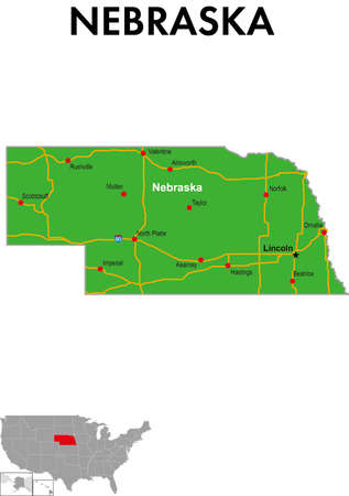 It is a map of Nebraska in the United States. It depicts the state capital, major cities, highways, highways, lakes, and more.