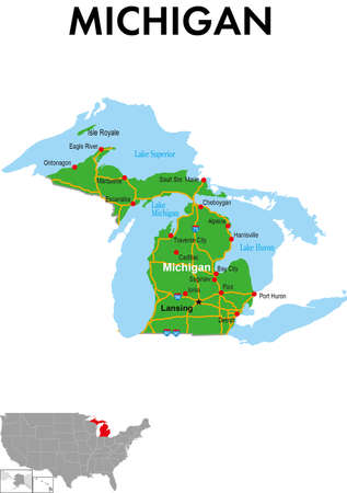 This is a map of Michigan in the United States. It depicts the state capital, major cities, highways, highways, lakes, and more.