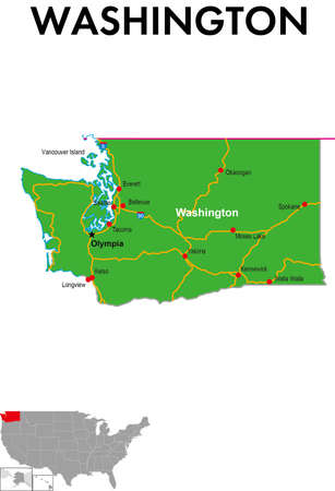 A map of The State of Washington in the United States. It depicts the state capital, major cities, highways, highways, lakes, and more.