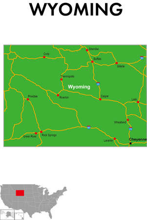 This is a map of Wyoming in the United States. It depicts the state capital, major cities, highways, highways, lakes, and more.
