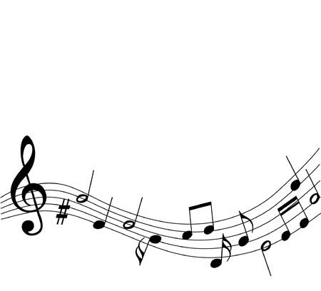 pentagrama musical: vector de fondo de la música con las notas