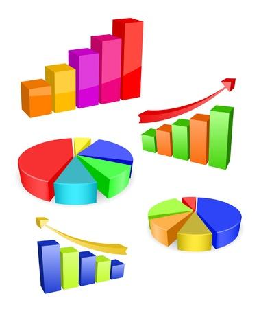 vector gekleurde diagram iconen Stock Illustratie