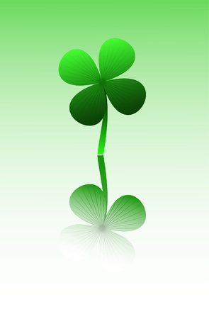 goodluck: vector four leaf clover with reflection