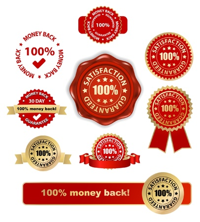 guarantee: money back satisfaction vector labels set