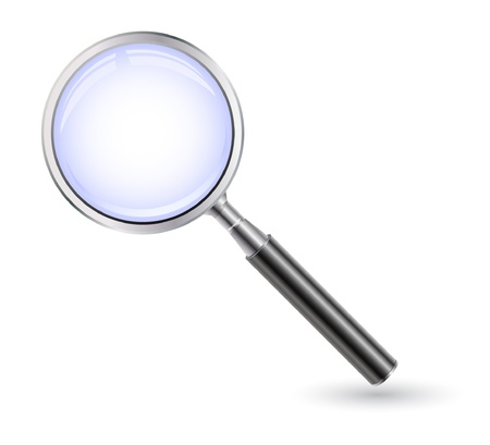 vector magnifing glass on white