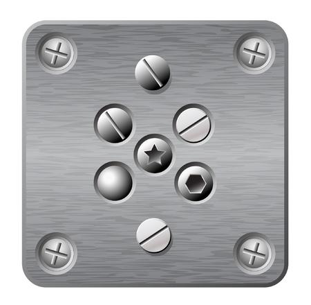 tuercas y tornillos: placa de metal vector con tornillos y remaches