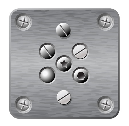 bolts and nuts: vector metal plate with screws and rivets