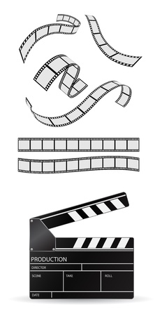 photo strip: film with clapboard