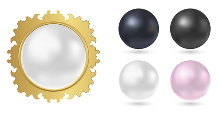 pearl in golden frame - abstract 3d sphere