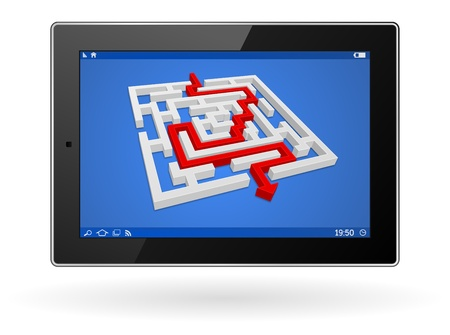 3d tablet computer with labyrinth - maze business concept Stock Vector - 21506458