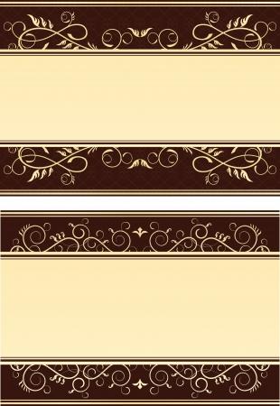 floral gold cards Illustration