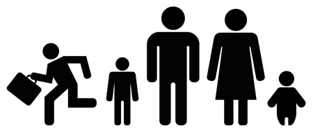person icon - people family set Çizim