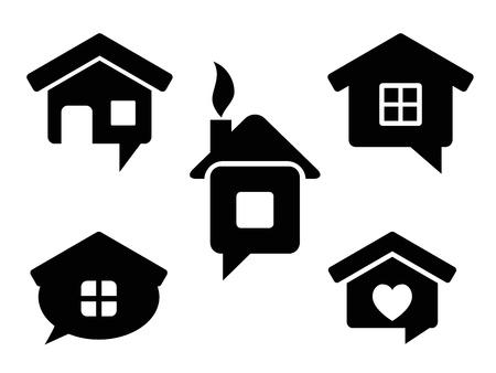 icon home: house icon set