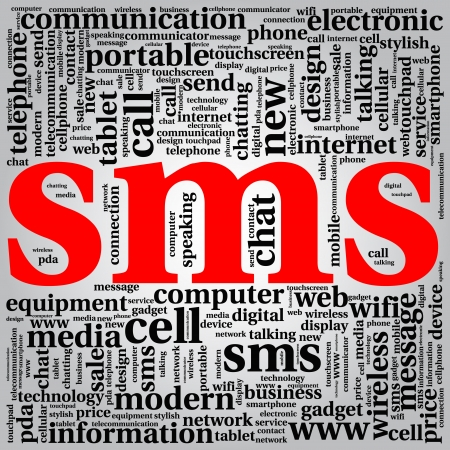 abstract background tag cloud sms