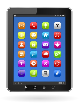 tablet pc with icons Stock Vector - 21506837