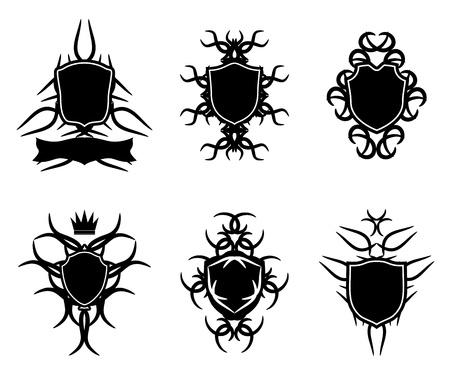 gothic design: Shield badge gothic design Illustration