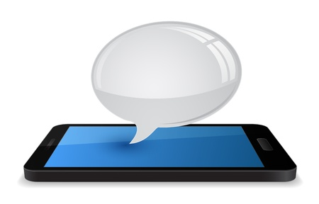 3d smartphone with speech bubble chat balloon Vector