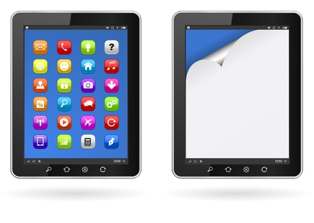 tablet pc with application icons and paper curl page Stock Vector - 21506953