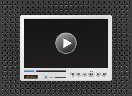 video player: video and multimedia player icon for website Illustration