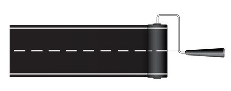 road marking: paint roller drawing road - concept 3d