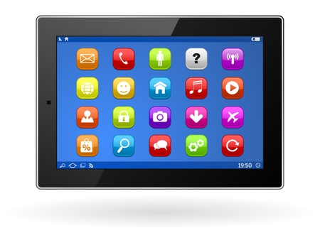 tablet computer with icon set Vector