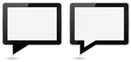 tablet pc speech bubble shape Stock Vector - 21506965