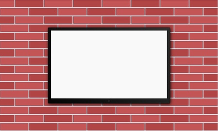 flat modern plasm tv on brick wall Stock Vector - 21506959