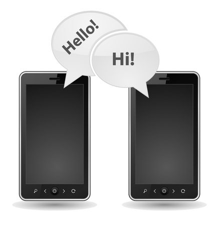 two smartphone bubble chat Stock Vector - 21506958