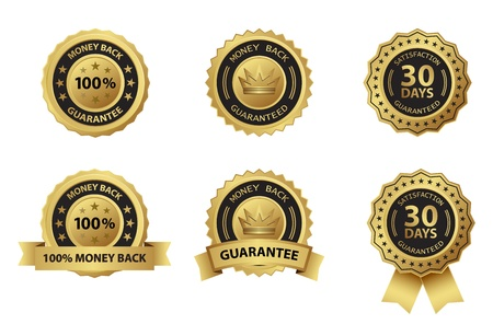 money back guarantee gold badge label Çizim