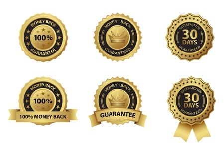 guarantee: money back guarantee gold badge label Illustration