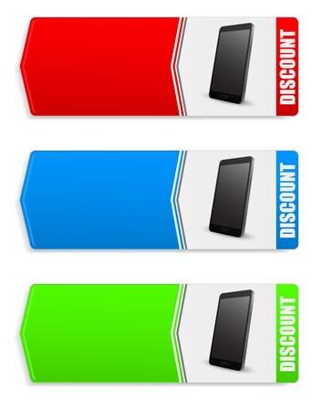 discount web banners with smatrphone Stock Vector - 21506995