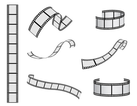 photo strip: film reel vector set