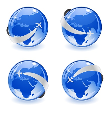 globe with plane vector icon 3d