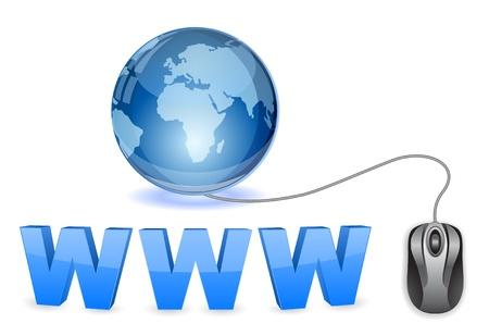 network cable: globe web icon concept