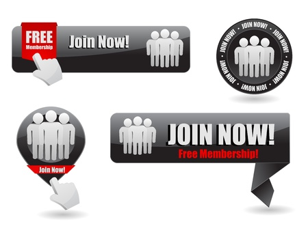 click here icon: join now web button and banner Illustration