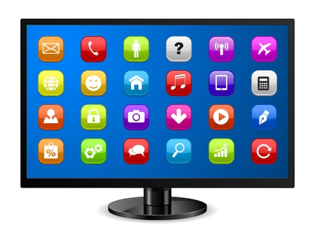 computer monitor with applications icon Vector