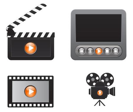 multimedia pictogram: movie icons set Illustration