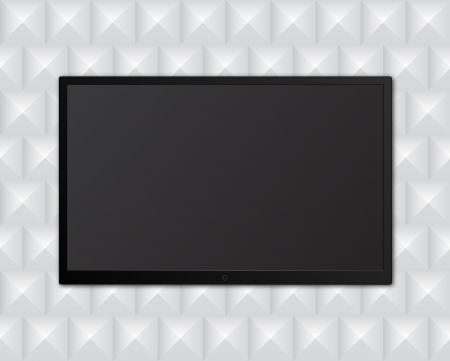 lcd display: tv on geometric background