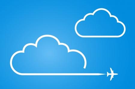 vliegtuig met cloud achtergrond
