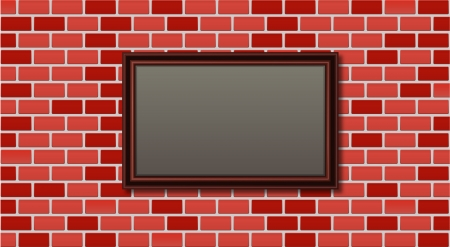 vintage picture frame on brick wall Vector