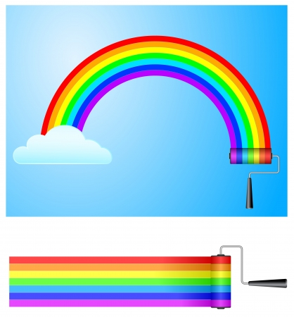 paint roller with rainbow Vector