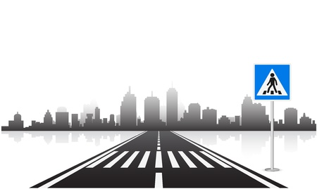 pedestrian: pedestrian sign and road
