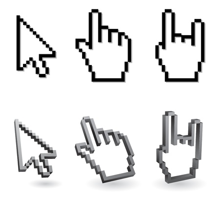 cursor pixel - arrow and hand 3d Illustration