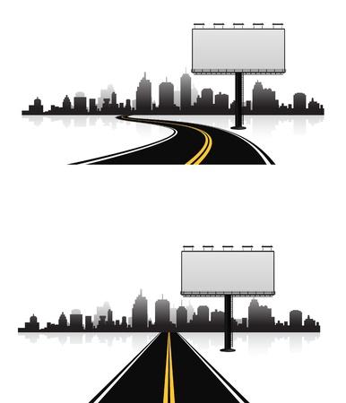 billboard blank: billboard on road to city